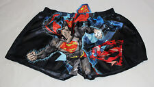 DC Comics Superman Mens Black Printed Satin Boxer Shorts Size L New