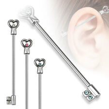 "1 Pc 14g 1.5"" Surgical Steel Heart & Key with Pink CZ Industrial Barbell"