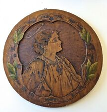 ANTIQUE VICTORIAN BAS RELIEF CARVING OF SAINT