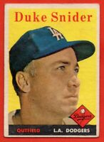 1958 Topps #88 Duke Snider VG-VGEX WRINKLE Brooklyn Los Angeles Dodgers FREE S/H