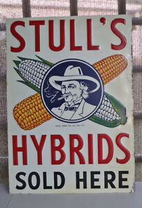 Vintage Original Embossed STULL HYBRIDS SOLD HERE Corn Feed Farm Sign  Smoker