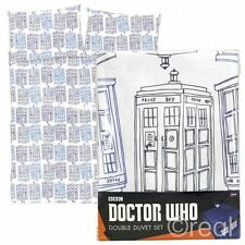 New Doctor Who TARDIS Check Double Duvet Cover & Pillowcase Set Official