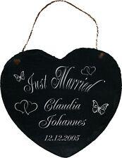 Just Married Schiefer Herz Türschild Deko Ihr Text Wunsch 20 x 19 Hochzeit 005