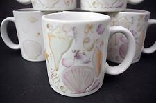 Set of 6 Otagiri Coffee Mugs Embossed SEA SHELLS Ocean Warm Beach Decor Vtg