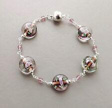 Flower glass bead bracelet .. pink cute bead & purple crystal silver tone glam