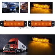 2pcs 12V ORANGE AMBER 6 LED Side Marker Indicators Lights Truck Trailer Bus