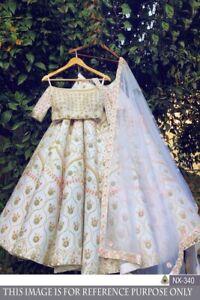 New Lengha Choli Indian Wedding Designer Party Special Off White Taffeta Lehenga