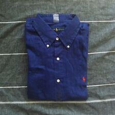 fa29afb6b040 Polo Ralph Lauren Men's 100 Linen Button Down Sort Sleeve Shirt Regular M  Navy
