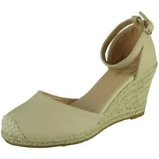 Womens Ladies Ankle Strap Espadrilles Platform Shoes Mid Heel Wedge Sandals Size