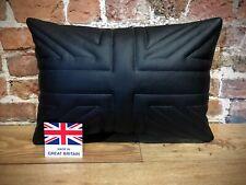 """Black Leather Union Jack Cushion 20"""" X 14"""" 🇬🇧"""