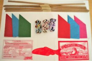 6 MINI TEDDIES & FORTUNE TELLER FISH + HATS,SNAPS,JOKES TO MAKE XMAS CRACKERS