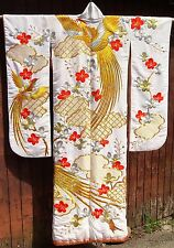 Uchikake Vintage Authentic Japanese Wedding Pheasant Kimono GOLD BROCADE &THREAD