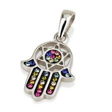 Hamsa Silver Pendant With Multi Color Gemstones + 925 Sterling Silver Chain #20