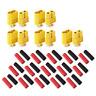 10 Stück (5 Paar) XT60 Goldtstecker Lipo Akku Stecker Buchse + Schrumpfschlauch