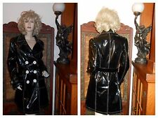 Vtg 12 Shiny Black PVC Vinyl Raincoat Trench Coat Rain Jacket Rain Slicker