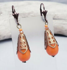 Cap Vintage Reproduction Earrings Orange Art Glass Filigree
