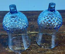 Set of 2 Votive Cups Homco Home Interior Sky Blue Diamond Design Candle Holders