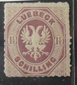 1865 Mi: 40,- MiNr 14 Wappen/Achteck 1½ S braunpurpur ungebraucht mit Falz