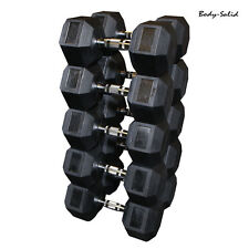 Body-Solid 10-60 Lb Rubber Coated Hex Dumbbell Set, 6 pair, 420 lbs, 10 lb incr