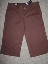 NWT STEVE & BARRY'S STRETCH WIDE LEG AT WAIST BROWN CAPRI PANTS 14