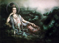 Dream-art Oil painting Kwan-yin Avalokitesvara with jade pot lotus flowers 36""