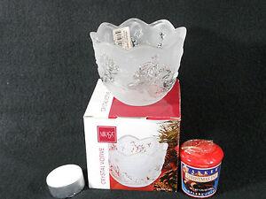Mikasa Holiday Classics Crystal Santa Votive with Candle,Made in Germany, NIB
