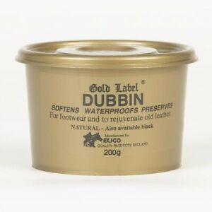 Gold Label Dubbin Waterproofs Softens Leather -- Black, Brown, Natural 200gs