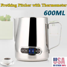 Milk Frothing Steam Pitcher Stainless Steel Espresso Art Coffee & Thermometer US