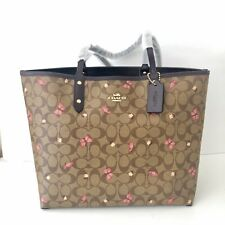 Coach Reversible City Tote Signature Canvas Floral Butterfly Purse NWT $378