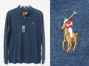 $98 Polo Ralph Lauren Pima Soft Touch LS Polo Shirt Men's M Grey Navy blue Knit