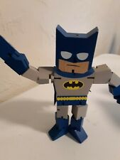 """Batman blue Wood Wooden  jointed 8"""" tall Marvel Comics Poseable painted chunky"""