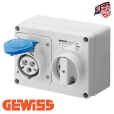Gewiss GW66015 Wall Mounted Socket with interlock 32a Two Pin & Earth Blue