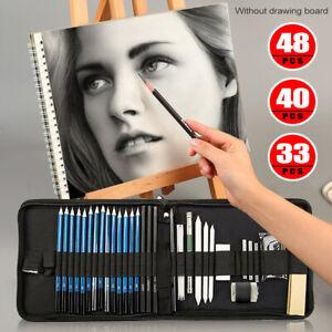 33/40/48pcs Drawing Sketch Set Charcoal Pencil Eraser Art Craft  Sketching Kit