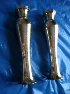 Pair of Tall Shiney Brass Candle / Flower Holders