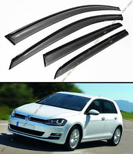FOR 2015-19 VW MK7 GOLF R GTI 4DR HATCH SMOKE CLIP ON WINDOW VISOR W/ BLACK TRIM