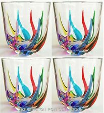 VENETIAN CARNEVALE STEMLESS WINE GLASSES / OLD FASHIONED GLASSES - SET OF FOUR
