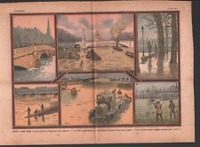 Inondation Crue de la Seine Zouave du Pont de l'Alma à Paris 1932 ILLUSTRATION