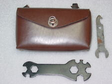 Vntg USSR Bicycle Bike FAUX LEATHER Brown Bag Case 2 Wrench Spanner Tools