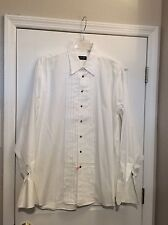GITMAN BROS. Ivory Formal Dress Shirt. Front Pleats/French Cuffs. Sz. 17.5-38T.