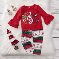 US New Toddler Baby Girl Christmas T Shirt Tops Long Pants Autumn Cotton Clothes