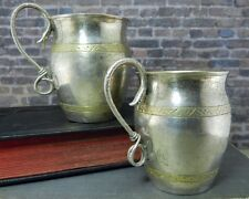 Vintage Pair of Russian 84 Silver Kiddush/ Vodka Cups w Serpentine Snake Handles