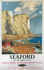 Original Vintage 1950s British Rail Travel Railway Poster Seaford Frank Sherwin