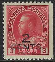 Scott 140 - 2c on 3c Carmine King George V Admiral, 2-line overprint, VF-LH