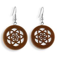 Ohrringe Holz Blume des Lebens Flower Of Life Earrings Design Schmuck ER282
