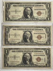1935A Set Of (3) $1 Hawaii OverPrint Silver Certificate Notes