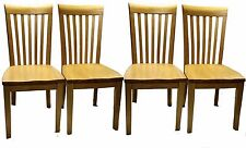 Mission Style Solid Natural Oak Dining Chairs - Set of Four