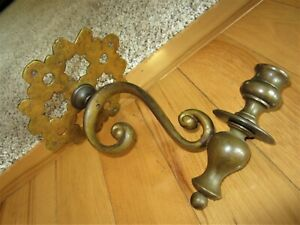 Antique Primitive Bronze Wall Mount Candle Holder Victorian Brass Piano Sconce