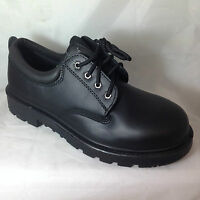 MENS BLACK STEEL TOE CAP STURDY LEATHER SHOE OFFICE SAFETY WORK LACE UP MANAGERS