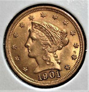 1901 Gold US $2.50 Liberty Head Quarter Eagle Coin