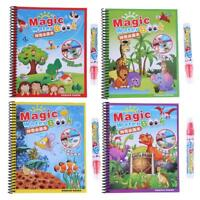 Reuse Water Paint Coloring Book with Magic Doodle Pen Kids Educational Toys Gift